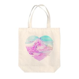 絶体絶命  Glitch #Heart Tote bags
