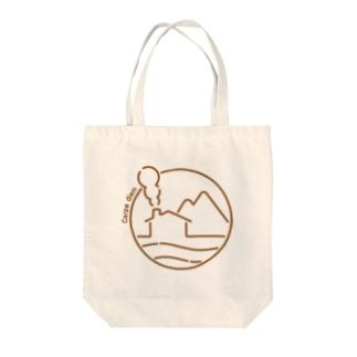 SQUID_INKのSHOPの海と山とログハウス(絵が茶Ver.) Tote bags