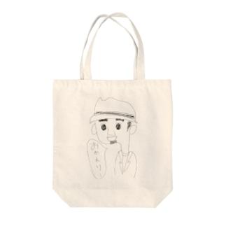 ぼうしひげさん Tote bags