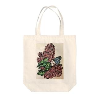 ライラックと蝶々 Tote bags