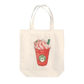 イチゴフラペチーノガエル Tote bags
