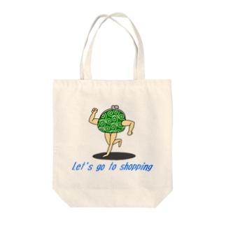 買い物に行こう【がま口(唐草模様)】 Tote bags