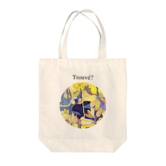 「花畑」黒うさぎ Tote bags