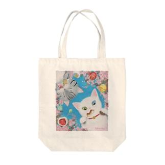 花より団子ニャ! Tote bags