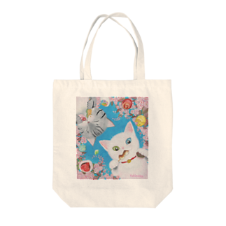 雪猫@LINEスタンプ発売中の花より団子ニャ! Tote bags