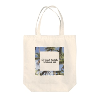 Wash hands mask on Tote bags