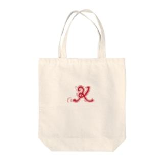 kimの走るアルファベット、K。赤ver Tote bags
