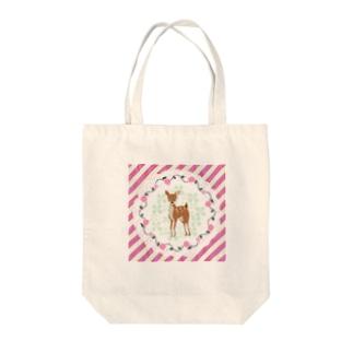 ファンシー子鹿ちゃん Tote bags