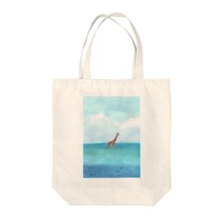dekamo taro 006の海のキリン Tote bags