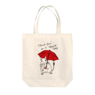 Have fun on a Rainy day (Red Umbrella) Tote bags