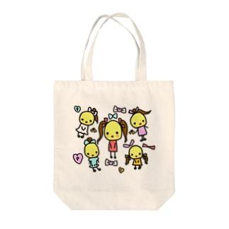 ぽよことリボン Tote bags