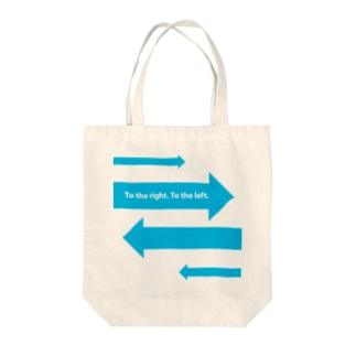 To the right. To the left.  Tote bags