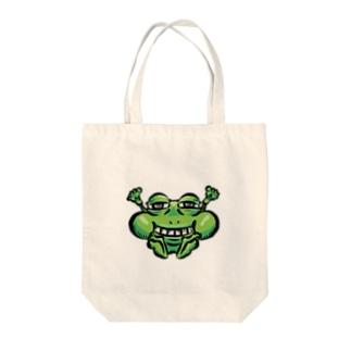 ほほえむ不愉快なカエル Tote bags