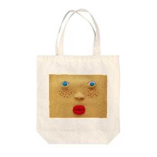 顔面ニット Tote bags