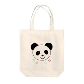 Yuuオリジナルイラスト25 パンダと5色の星 Tote bags