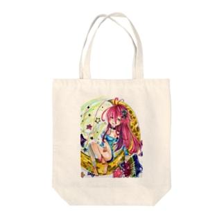 ぺちゃの ○。銀狐堂。○ の三日月仕掛け娘 人物カット版 Tote bags