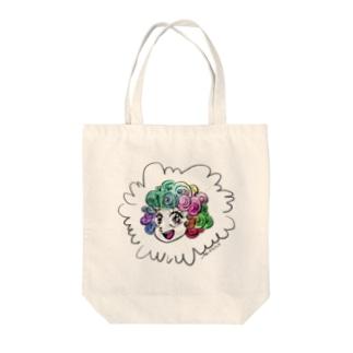 カラフルヘアー Tote bags