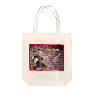 人形写真:槍戦士の女性冒険者 Doll picture: Blonde Spear Warrior Tote bags