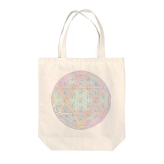 Rainbow Flower of Life & Hexagram Tote bags