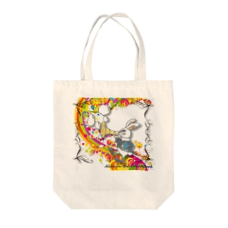 Rabbit on the rainbow Tote bags