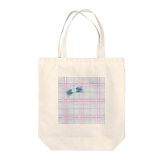 青チェック(英文入り) Tote bags