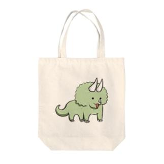 ものしりトリケラトプス Tote bags