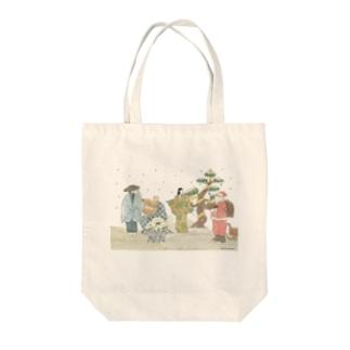 鉢木のまえに薪プレゼント Tote bags