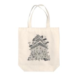 熊本城武者返し イラストカラー:グレー Tote bags