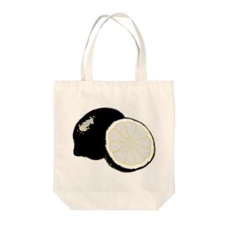 檸檬 black Tote bags
