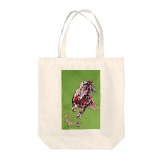 草原を駈ける赤い馬 Tote bags