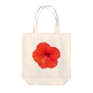 ハイビスカス・レッド① Tote bags