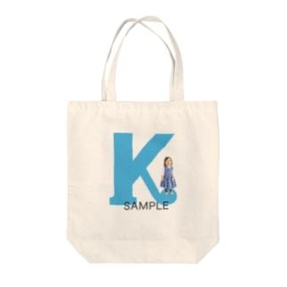 アルファベット photoグッズ ブルー Tote bags
