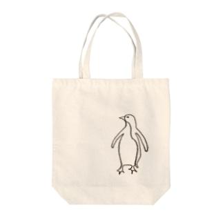 一筆書き   ペンギンくんver. Tote bags