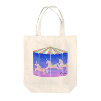 ユニコーンのメリーゴーランド Tote bags