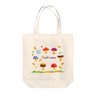 水彩イラストグッズの秋のかわいいキノコ Tote bags