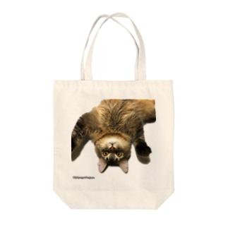 ねこのまそたんトラップバッグ Tote bags