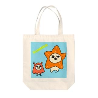 ヒトデとメンダコのコスプレ Tote bags