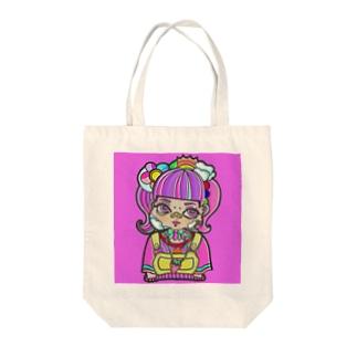 ピンクデコラちゃん Tote bags