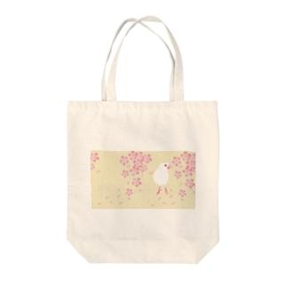 文鳥モデル:テトちゃんベージュ桜 Tote bags