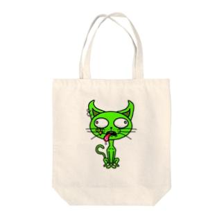 ミドリイロのネコ Tote bags