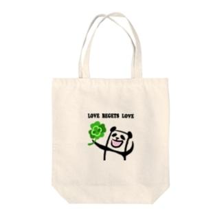 LOVE BEGETS LOVE Tote bags
