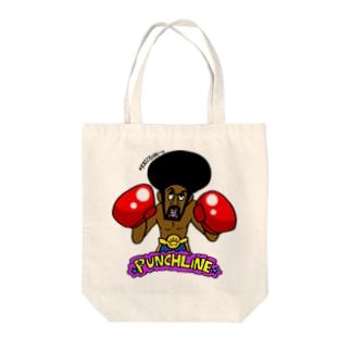 ブラックボクサーのパンチライン Tote bags