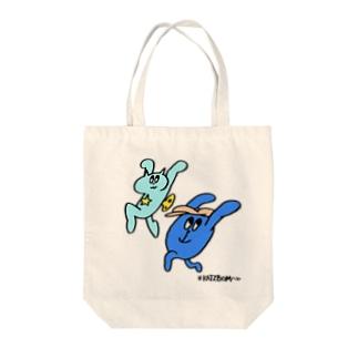 ネジネコとモンタナ〜ジャンプ! Tote bags