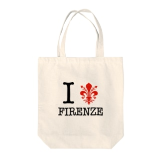 I LOVE FIRENZE アイ ラブ フィレンツェ、 イタリア フィレンツェの紋章 百合の紋章 Il giglio di Firenze FIRENZE フィレンツェ イタリア フローレンス イタリア Tote bags