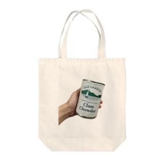 CLAM CHOWDER Tote bags