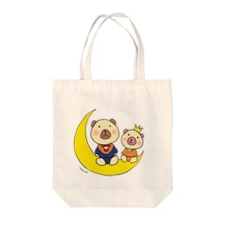 あすか工房**くまヲfly me to the moon Tote bags