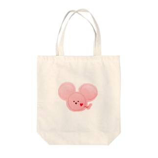 ネズミ ピンク Tote bags