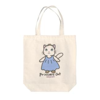 ねこのお姫さま(ブルー) Tote bags