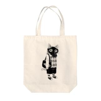 ガスマスクを付けた猫 Tote bags