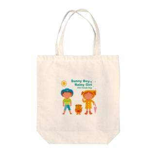 Sunny Boy & Rainy Girl! Tote bags